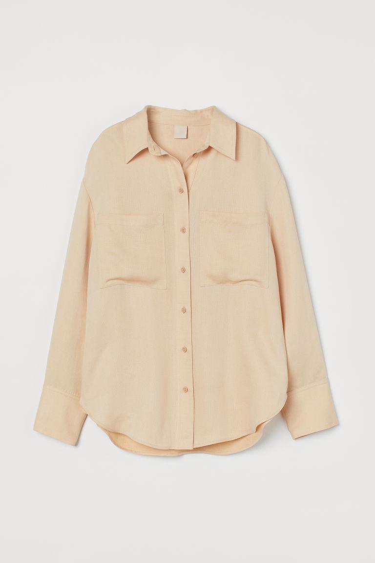 H & M - 加大碼萊賽爾混紡襯衫 - 橙色