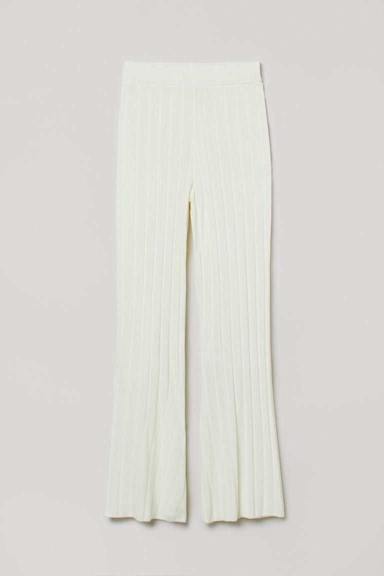 H & M - 羅紋針織長褲 - 白色