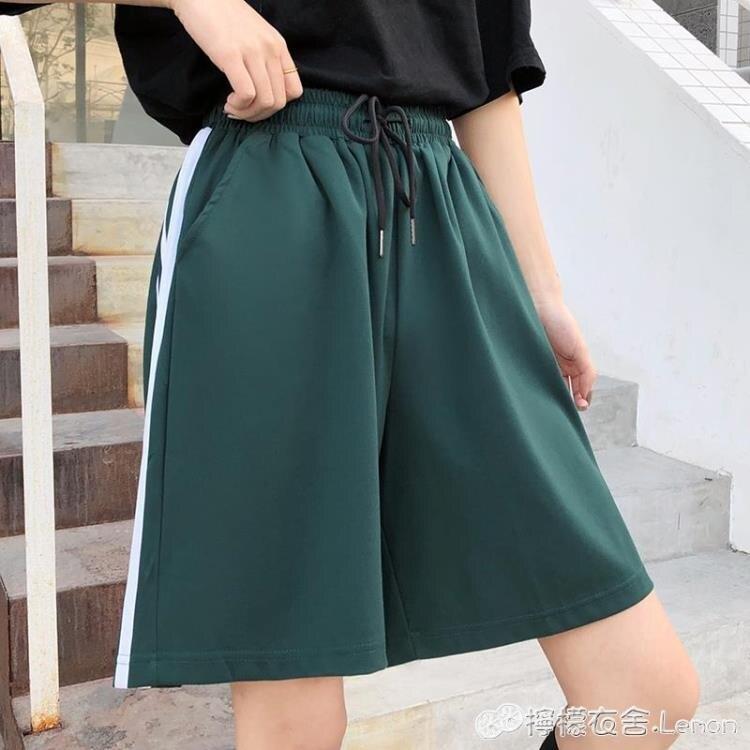籃球短褲女夏寬鬆潮ins高腰直筒顯瘦百搭寬管五分褲三條桿運動褲 618特惠