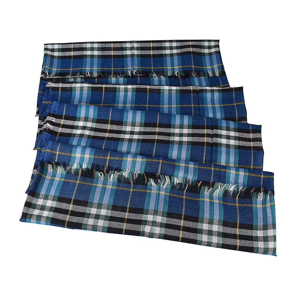 BURBERRY經典格紋拚色設計輕質感圍巾(青x綠白格紋)