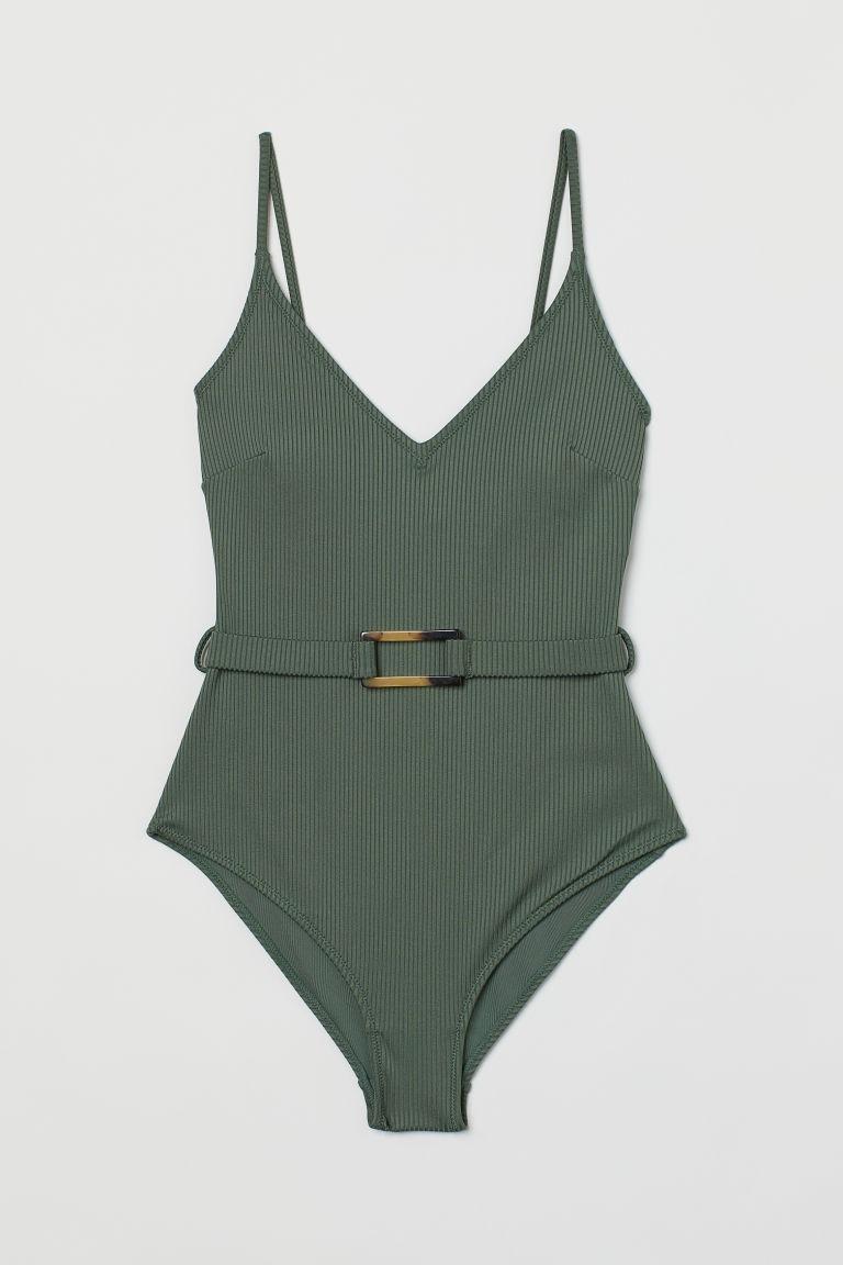 H & M - 羅紋塑身連身泳裝 - 綠色