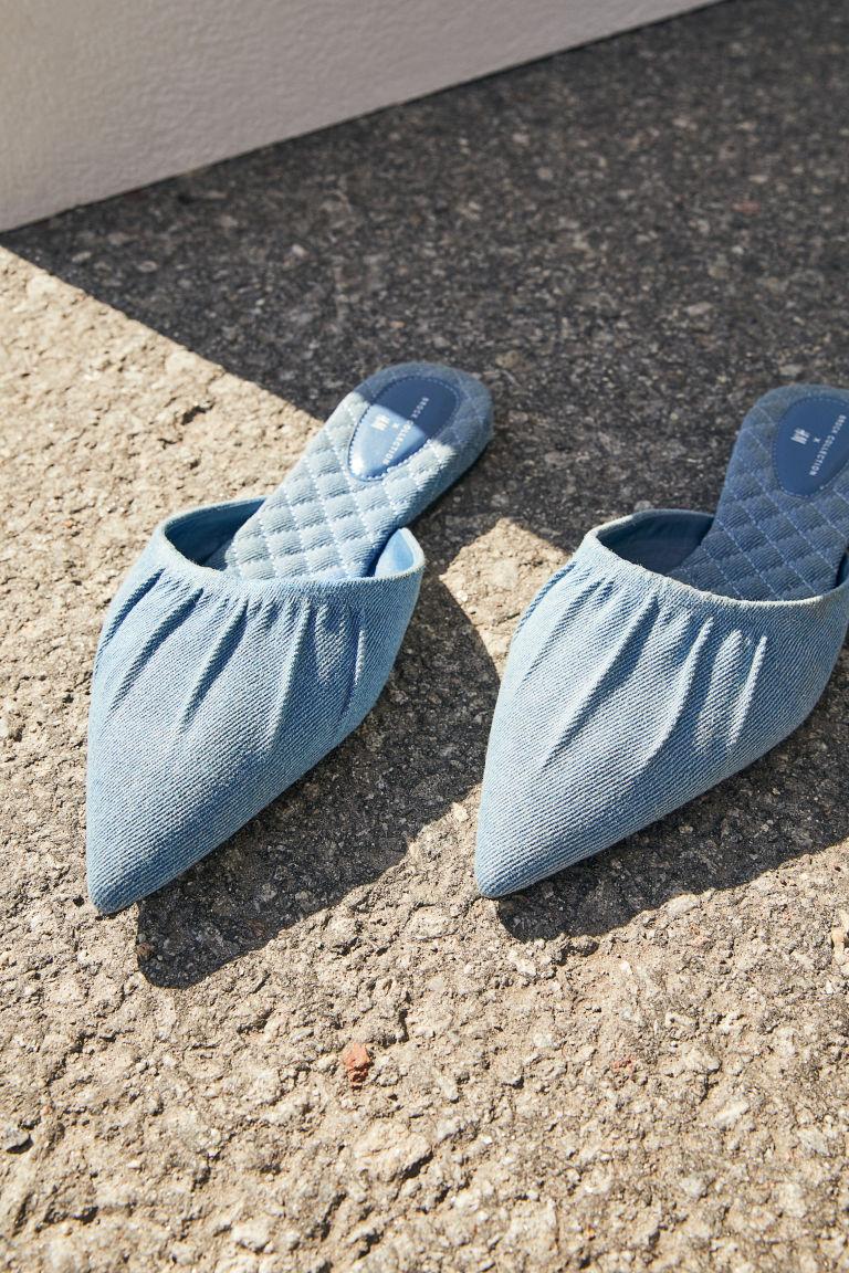 H & M - 尖頭懶人拖鞋 - 灰色