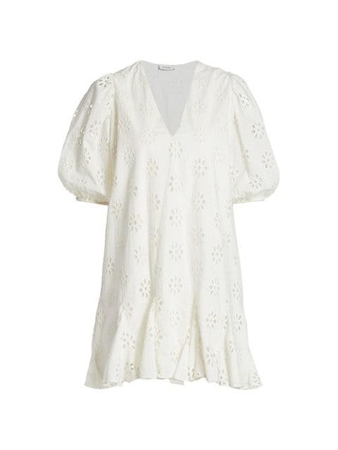Saira Puff-Sleeve Cotton Eyelet Dress