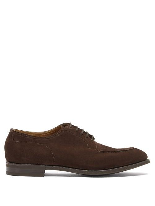 Edward Green - Dover Suede Derby Shoes - Mens - Dark Brown