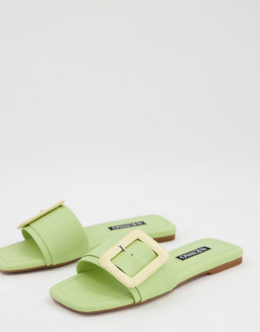 Senso Hart II flat sandals with buckle detail in lime-Green