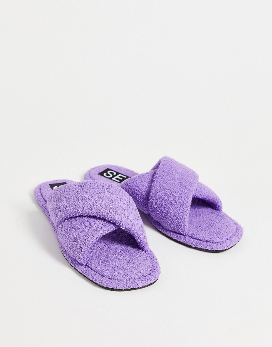 Senso Inka IV fluffy flat sandals with crossover strap in lavender-Purple