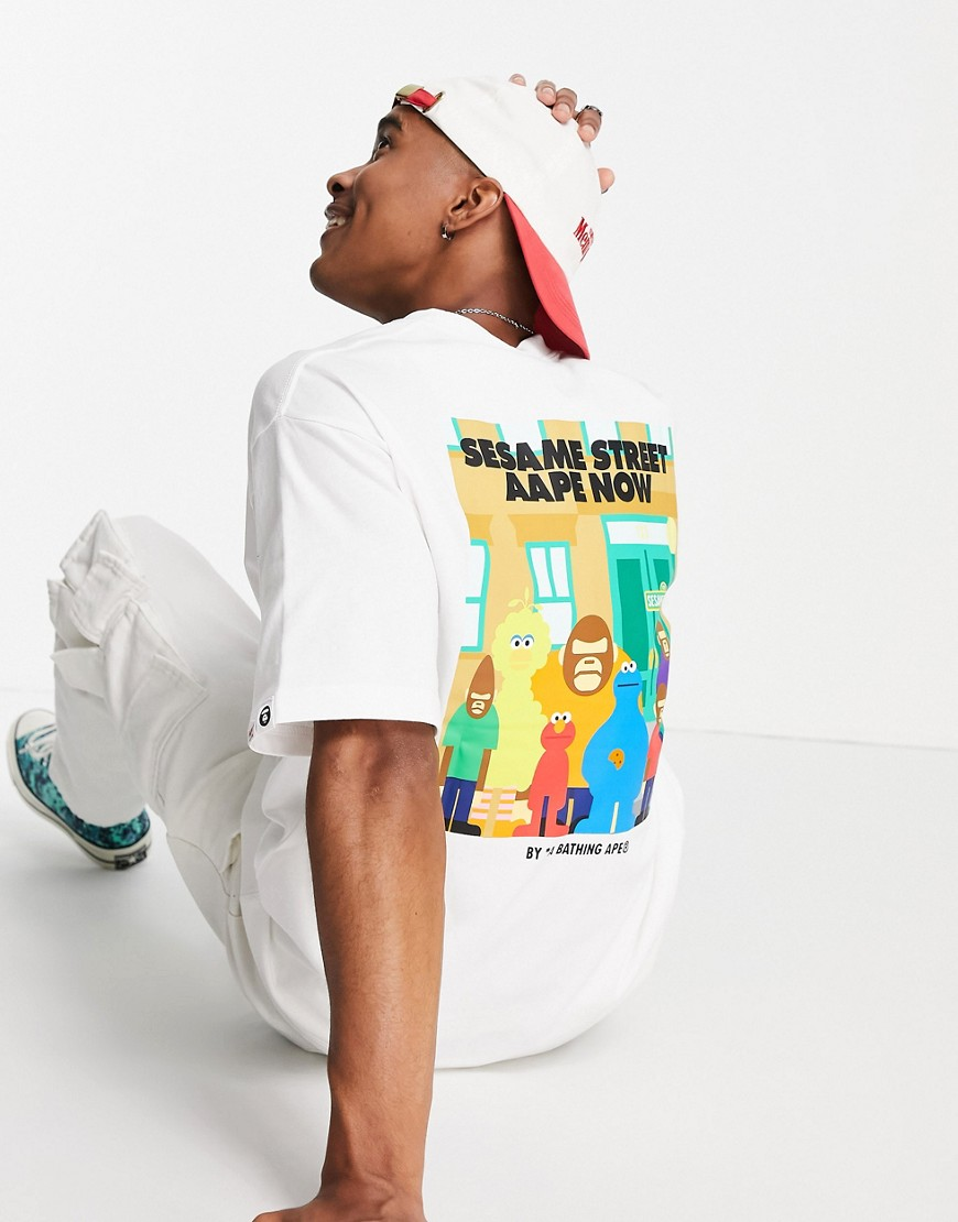 AAPE By A Bathing Ape x Sesame Street aape now back print t-shirt in white