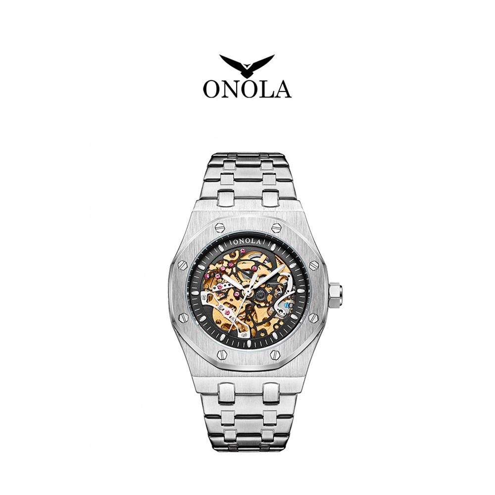 ONOLA 義大利品牌 銀黑個性八角簍空機戒鋼帶腕錶-ON3811