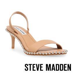 STEVE MADDEN-ZOELLE 滾珠一字帶低跟涼鞋-卡其色