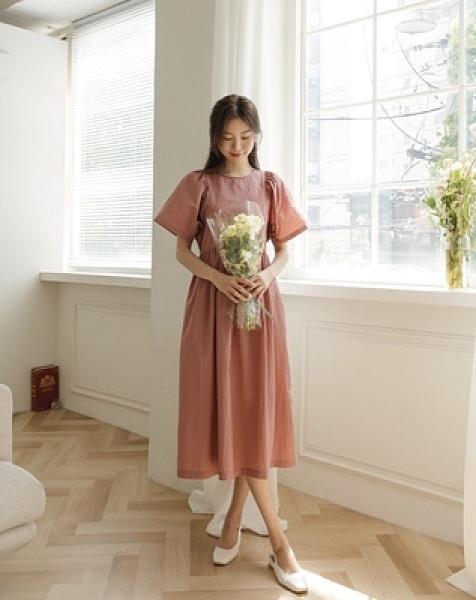 韓國chic純色寬鬆顯瘦短袖圓領連衣裙女9689KK122-C紅粉佳人