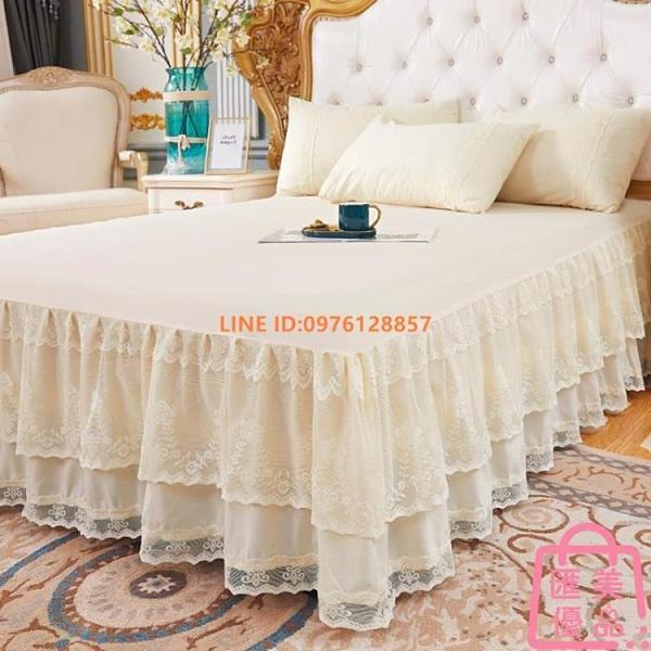 單件丨床包床裙式單件蕾絲花邊歐式1.5m雙人床套防滑保護套【匯美優品】