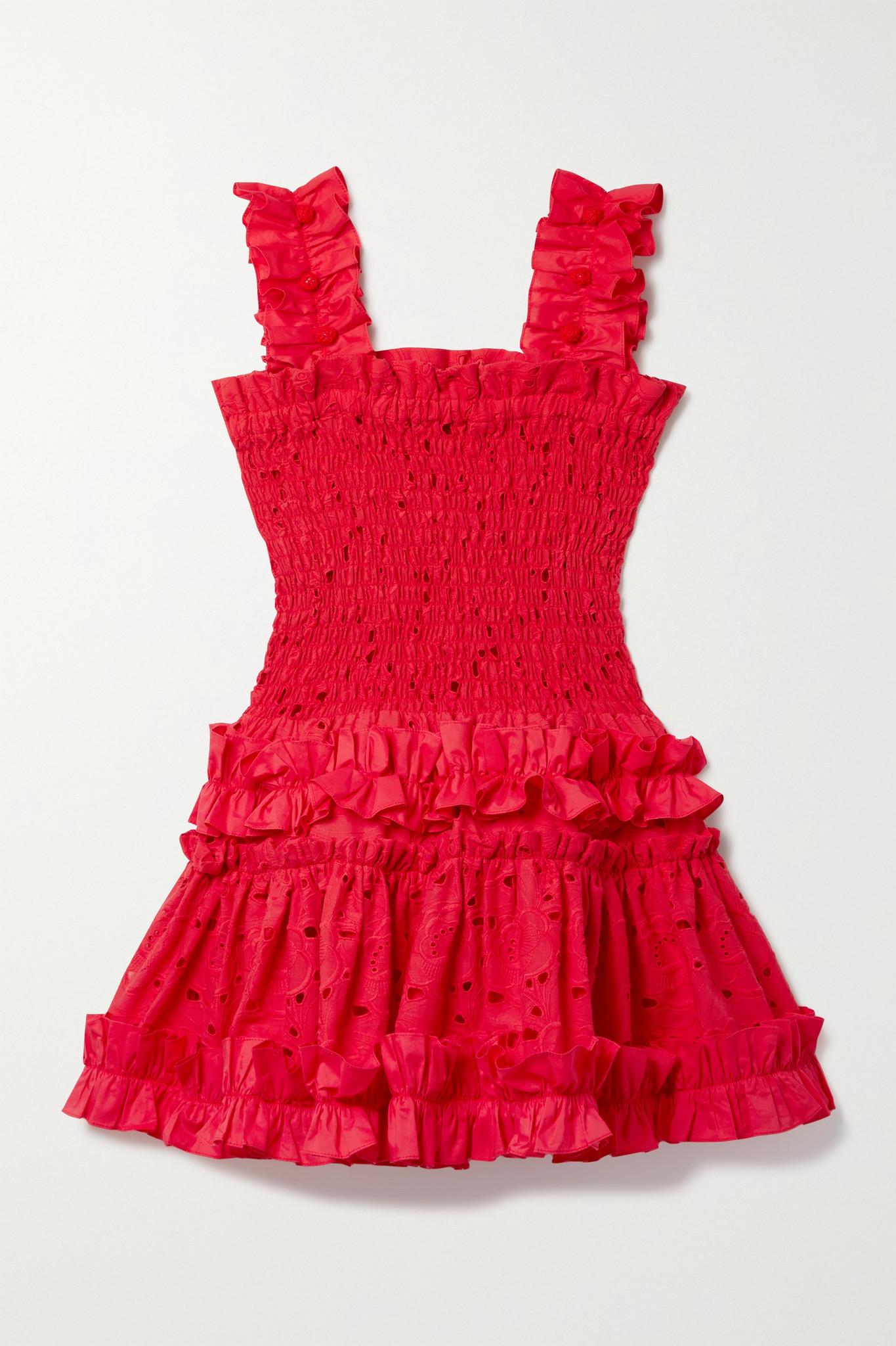 WAIMARI - + Net Sustain Alfresco Ruffled Broderie Anglaise Cotton Mini Dress - Red - large