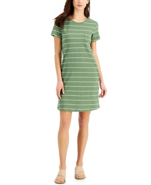 Style & Co Cotton Striped T-Shirt Dress, Created for Macy's