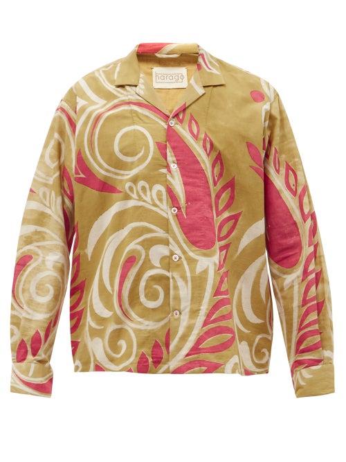 Harago - Kaladera Abstract Floral-print Cotton Shirt - Mens - Beige Multi