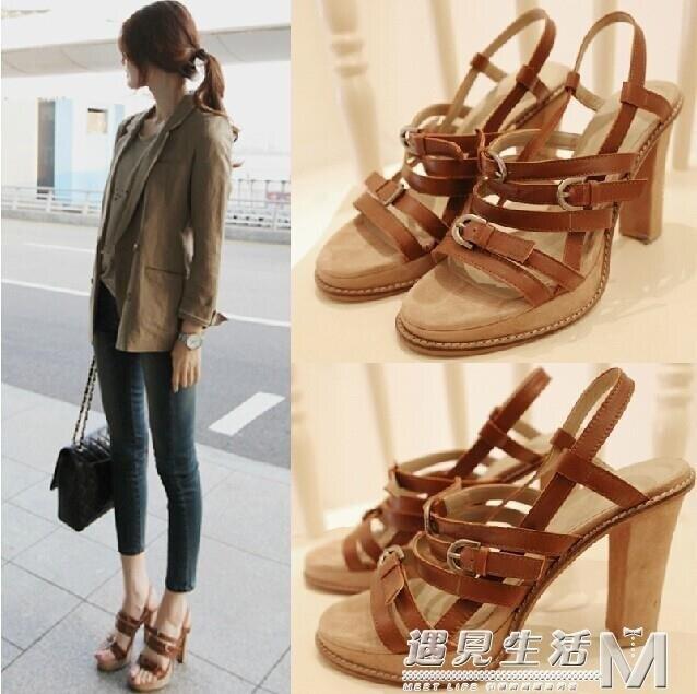 夏季新款高跟粗跟女鞋韓版復古棕色露趾羅馬涼鞋高跟鞋潮