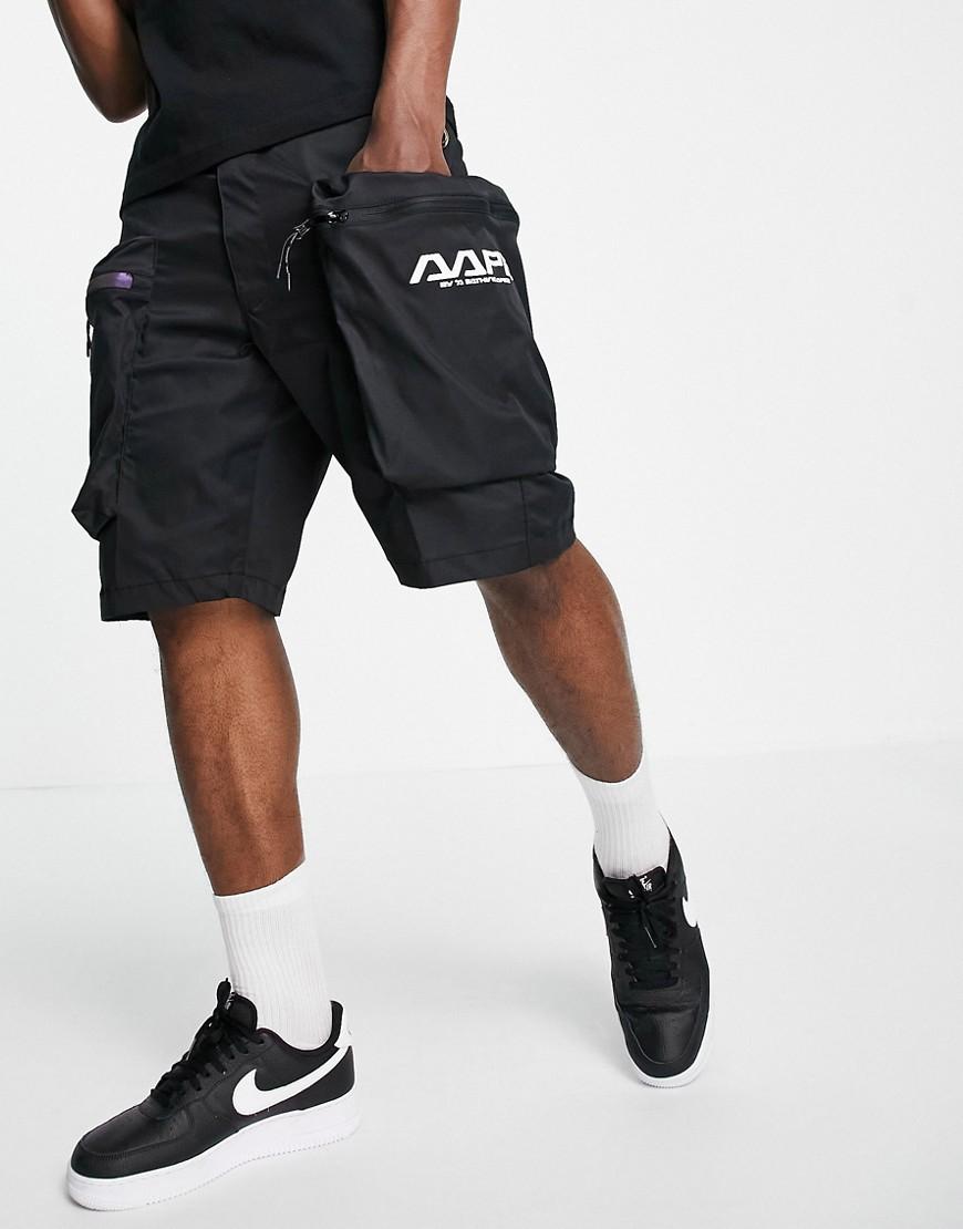 AAPE By A Bathing Ape multi-pocket nylon cargo shorts in black