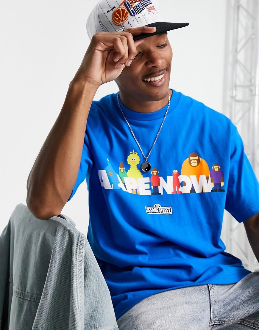 AAPE By A Bathing Ape x Sesame Street aape now back print t-shirt in blue