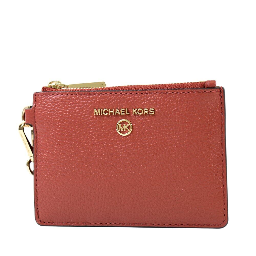 MICHAEL KORS 專櫃款 荔枝紋證件/鑰匙零錢包-紅棕色