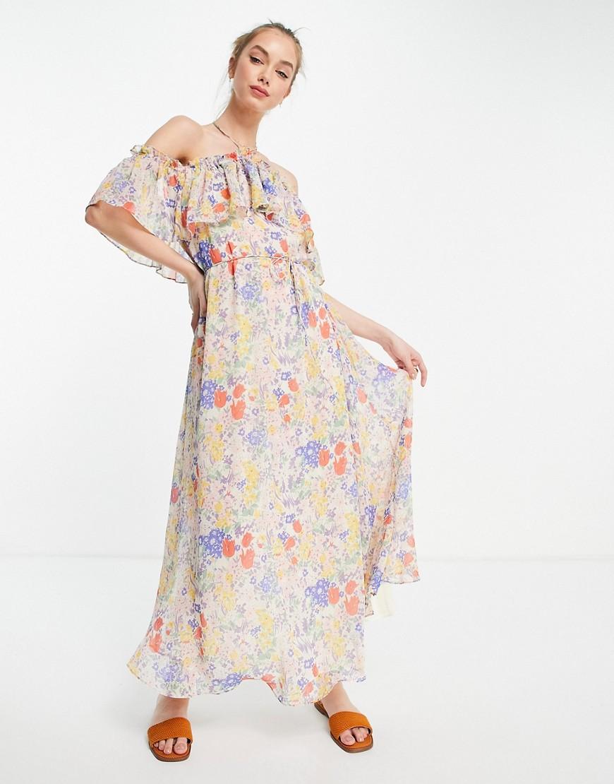 Mango strappy floral maxi dress in multi