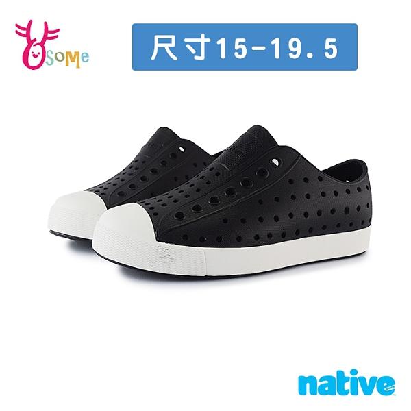 native水鞋 寶寶童鞋 男女童鞋 奶油頭 洞洞鞋 休閒鞋 懶人鞋 JEFFERSON L9471#黑色◆OSOME奧森鞋業