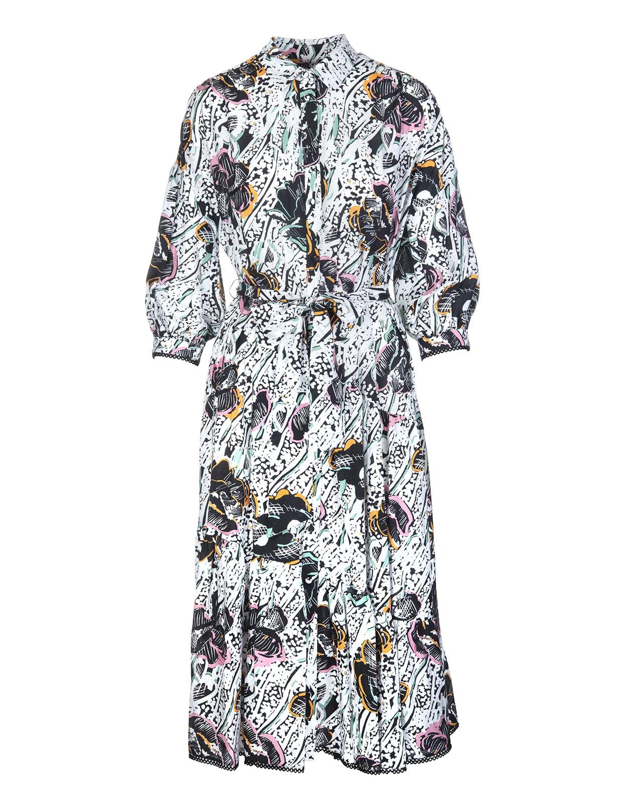 Diane Von Furstenberg Luna Midi Chemisier Dress In Cotton Patchwork Floral Medium Ivory