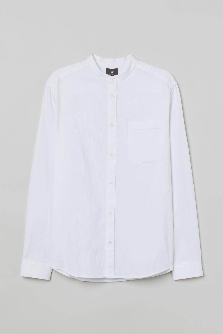 H & M - 標準剪裁祖父領襯衫 - 白色