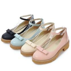 【Taroko】簡約蝴蝶結一字扣淺口粗跟淑女鞋(4色可選)