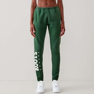 Roots 女裝- 復古翻玩系列 刷毛布休閒棉褲-軍綠色
