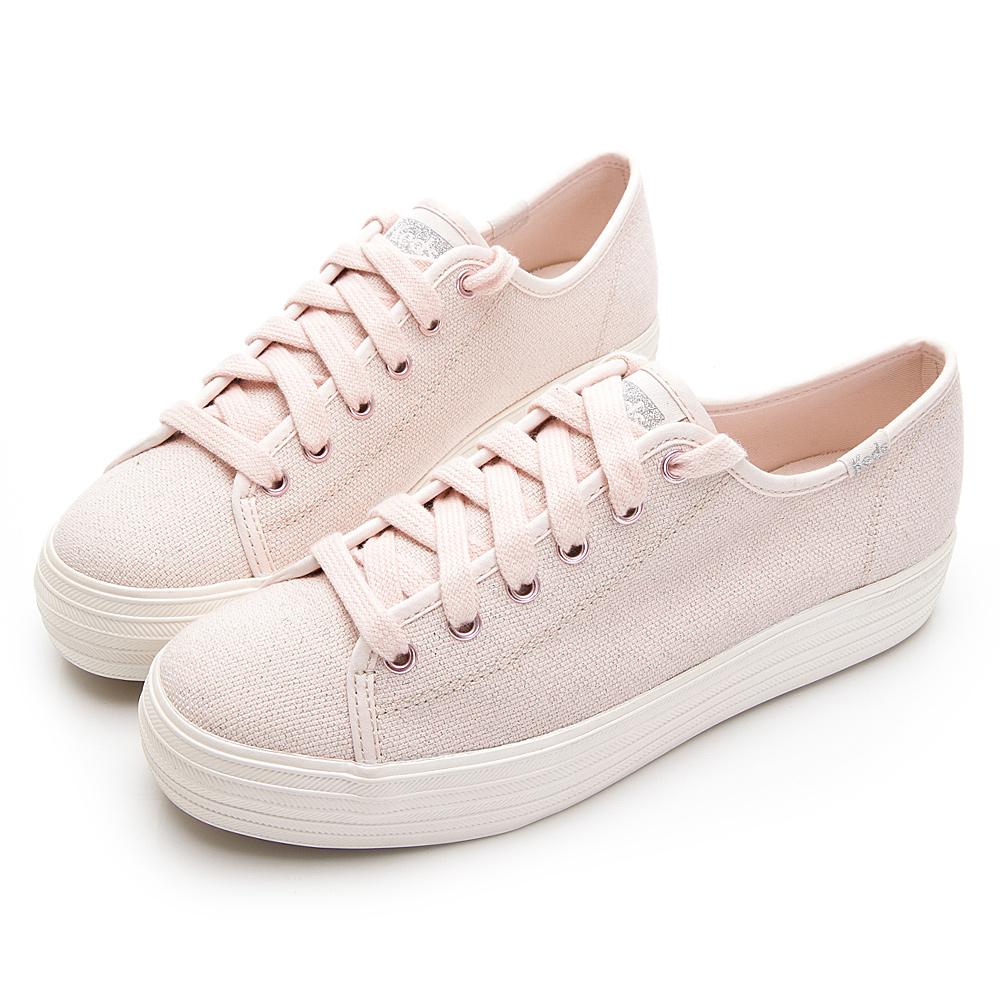 TRIPLE KICK 金銀色澤綁帶休閒鞋-粉紅