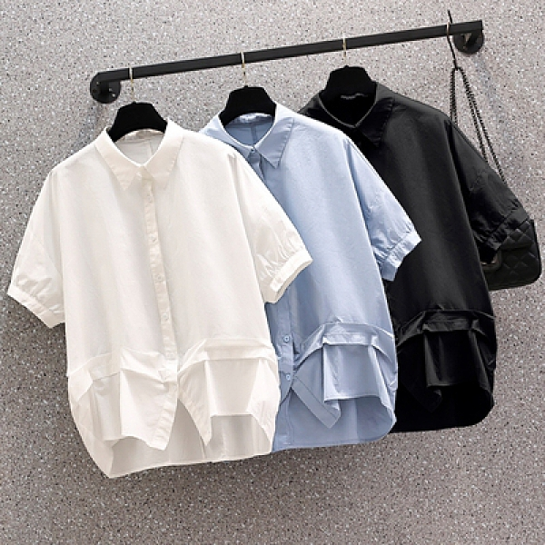 XL-4XL大碼polo領下擺不規則襯衫上衣顯瘦寬松收腰短袖T恤上衣925 3F015-A 胖妹大碼女裝