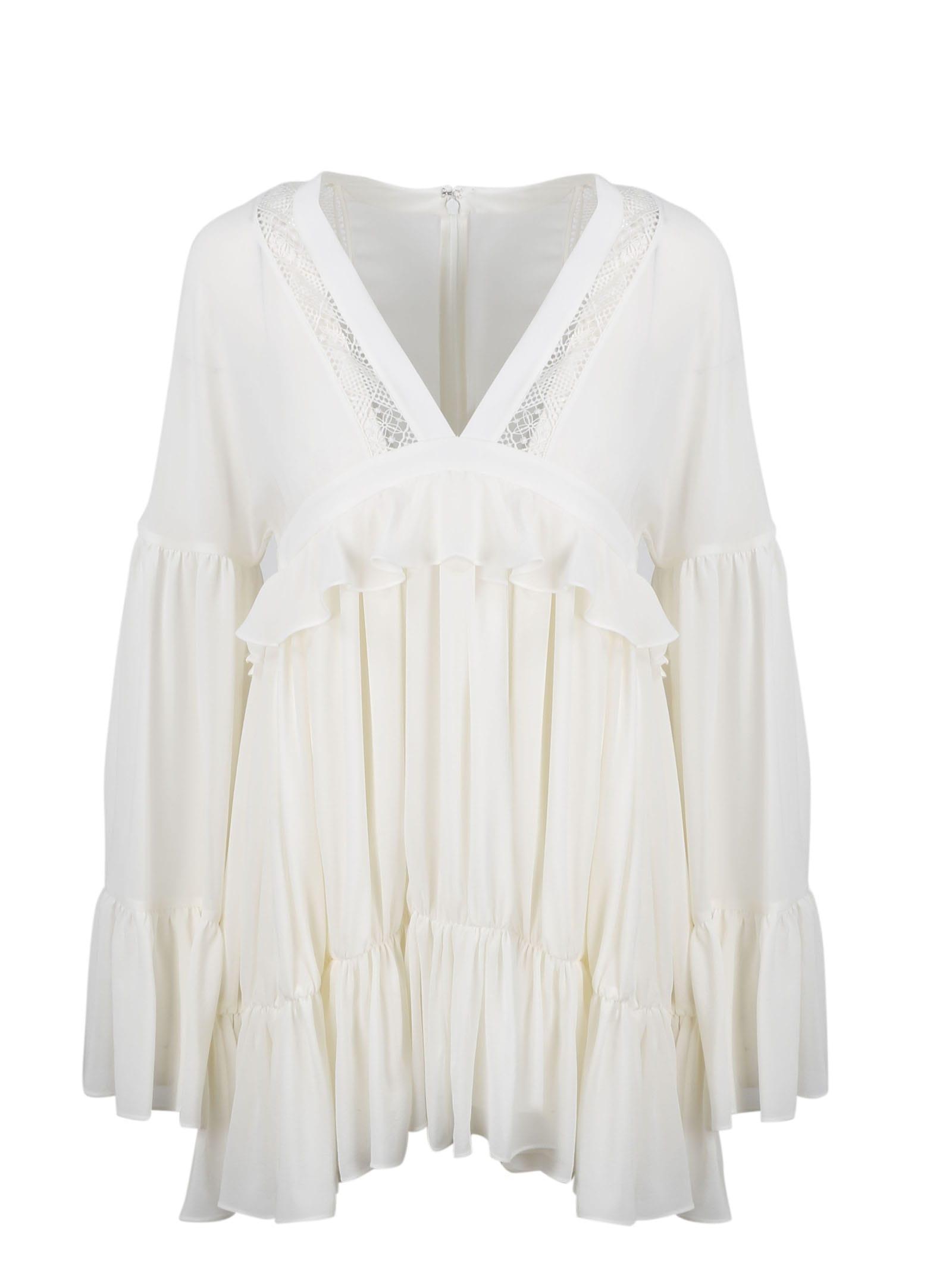 Saint Laurent Silk Muslin Mini Dress