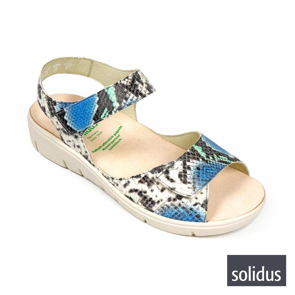 【Solidus】仿蛇皮紋魔鬼氈厚底涼鞋 叢林藍(76010-LBU)