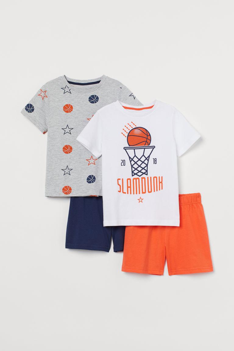 H & M - 2套入平紋睡衣套裝 - 橙色