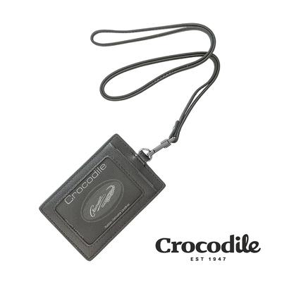 Crocodile 鱷魚皮件 真皮皮件 維也納Wien系列 直式識別證 ID 名片卡片夾-0103-10406-黑色