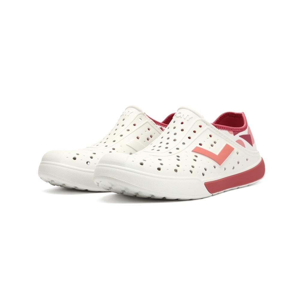 【PONY】ENJOY洞洞鞋踩後跟雨鞋水鞋12U1SA01-中性款-幾何/珊瑚粉-原價980元