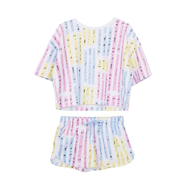 3-o'clock 電電糖膠帶 短袖睡衣套組(粉彩)