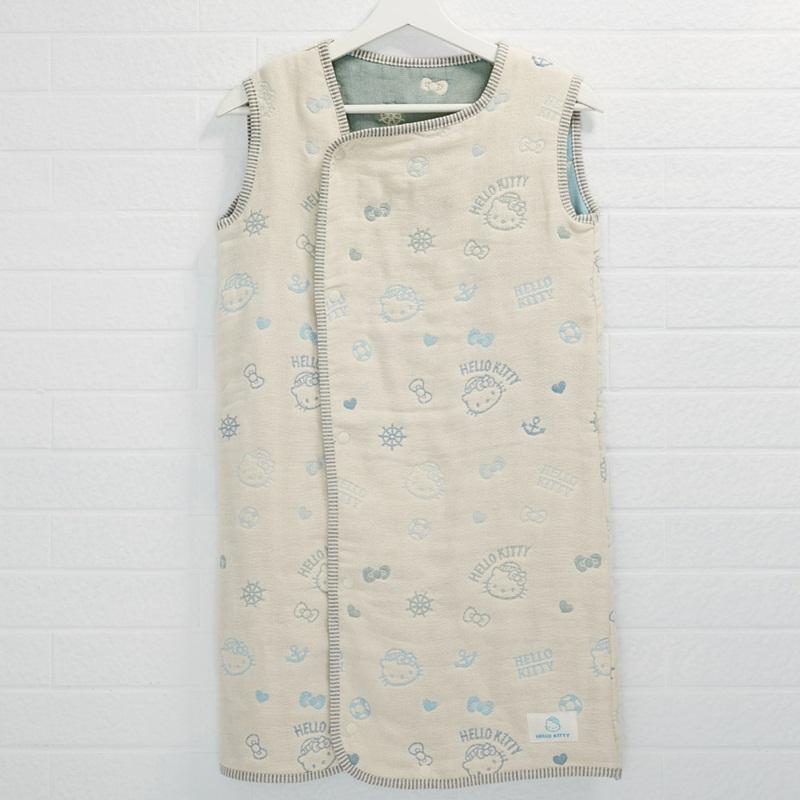 【日本製三河木綿】六重紗布防踢背心睡袍-Kitty海洋樂園 XL 號