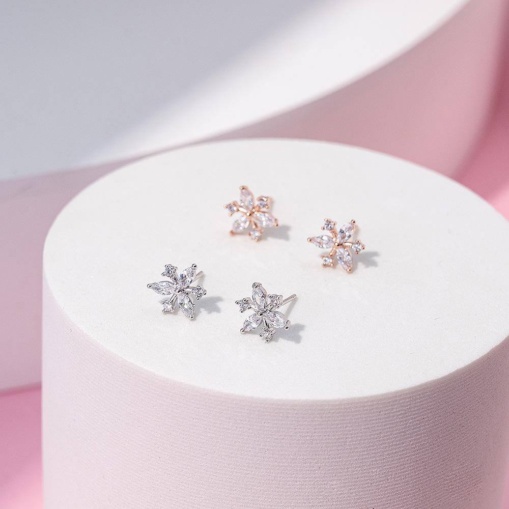 小巧花鑽925銀針耳環(2色)-A10536