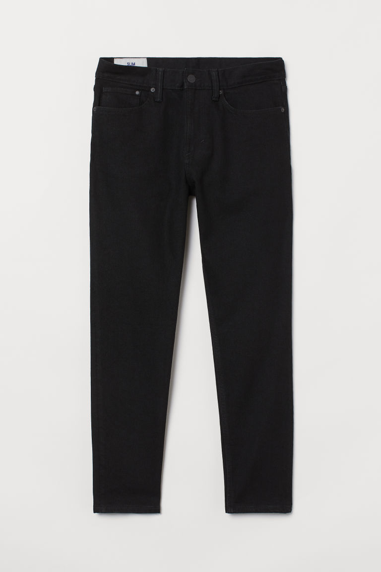 H & M - 貼身錐形牛仔褲 - 黑色