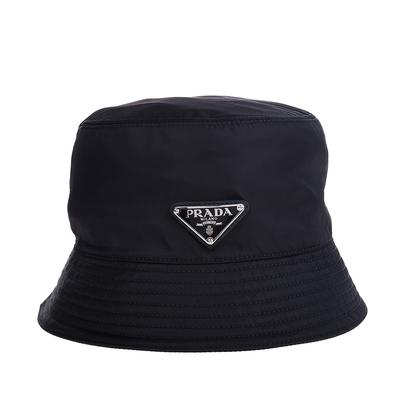 PRADA 經典尼龍三角牌LOGO漁夫帽 (黑色/S/女款)