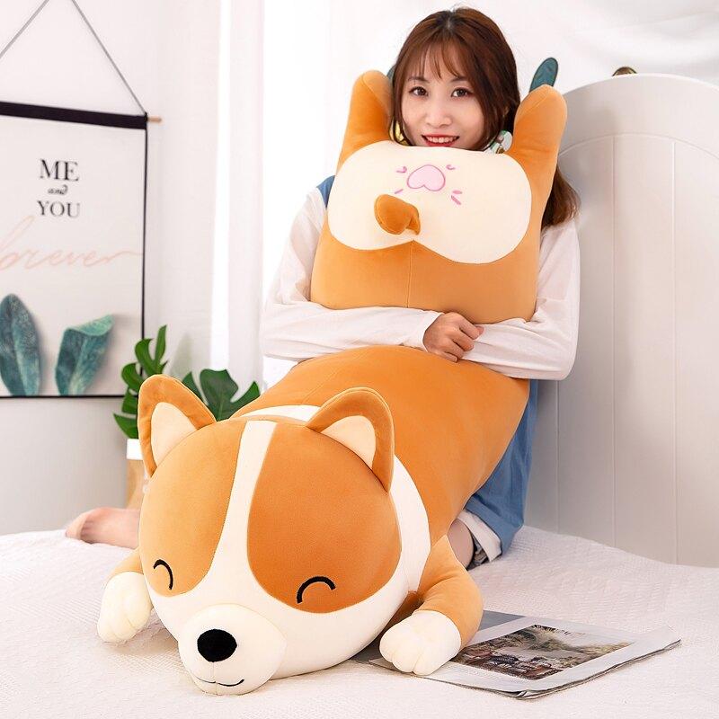 可愛柯基公仔毛絨玩具布娃娃抱枕女生睡覺床上大玩偶超軟生日禮物