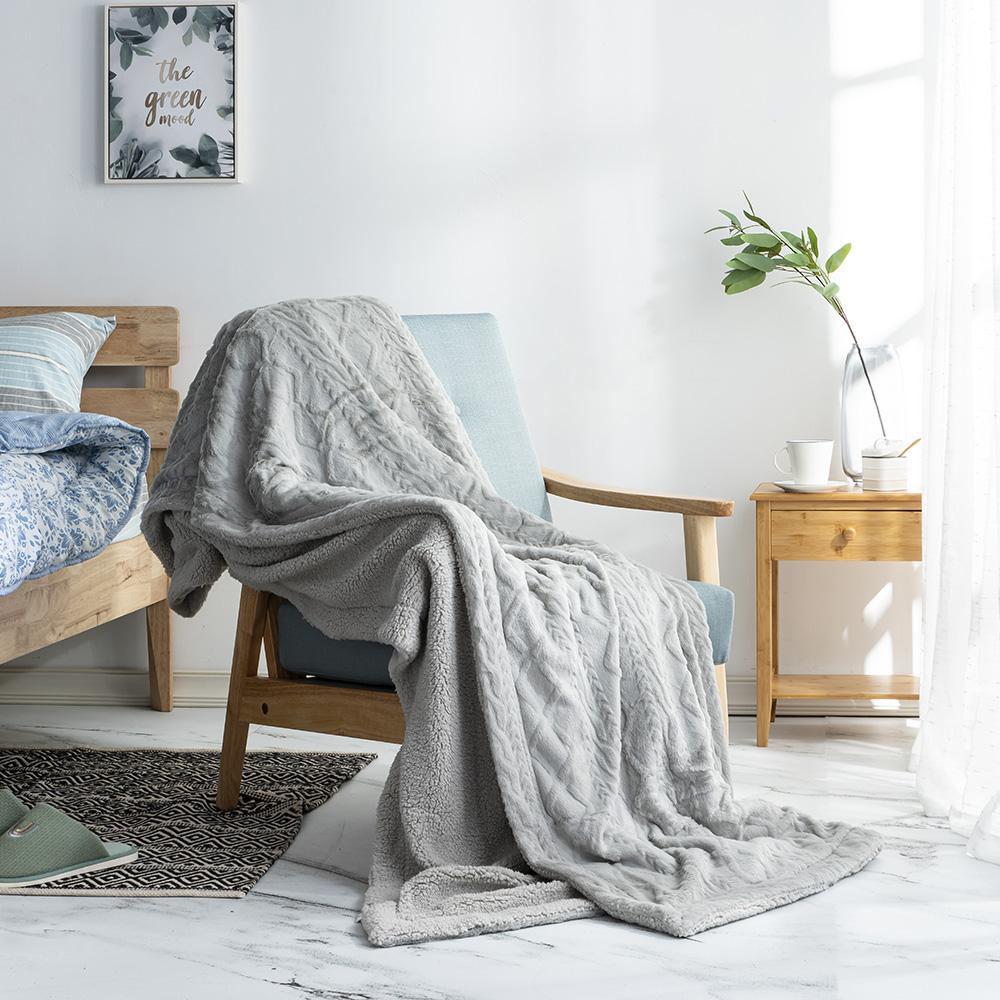 輕柔絮暖雙面毯150*200-空氣灰