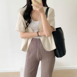 沐朵-氣質休閒百搭棉麻短版外套M-XL(共二色)