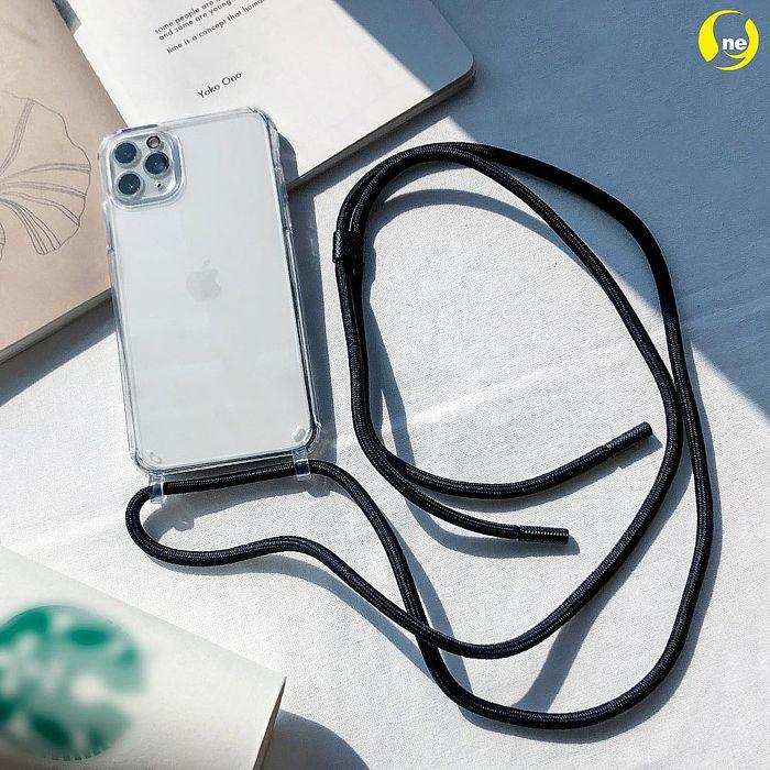 【o-one】Apple iPhone XS Max 斜背手機殼 可調式高級編織掛繩手機殼透明殼+霓虹