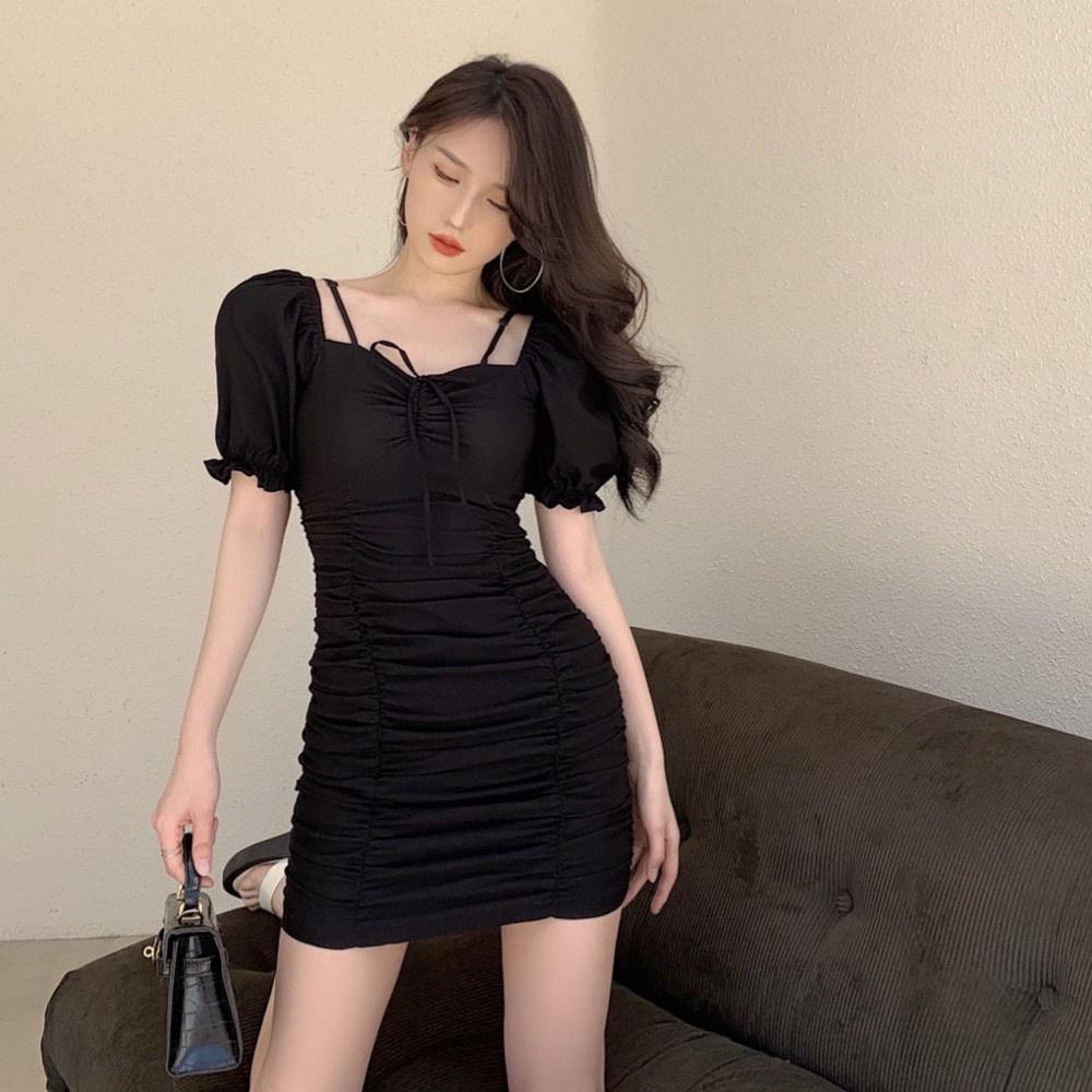 新款輕熟風泡泡袖褶皺抽繩修身顯瘦連衣裙性感露肩純色包臀短裙