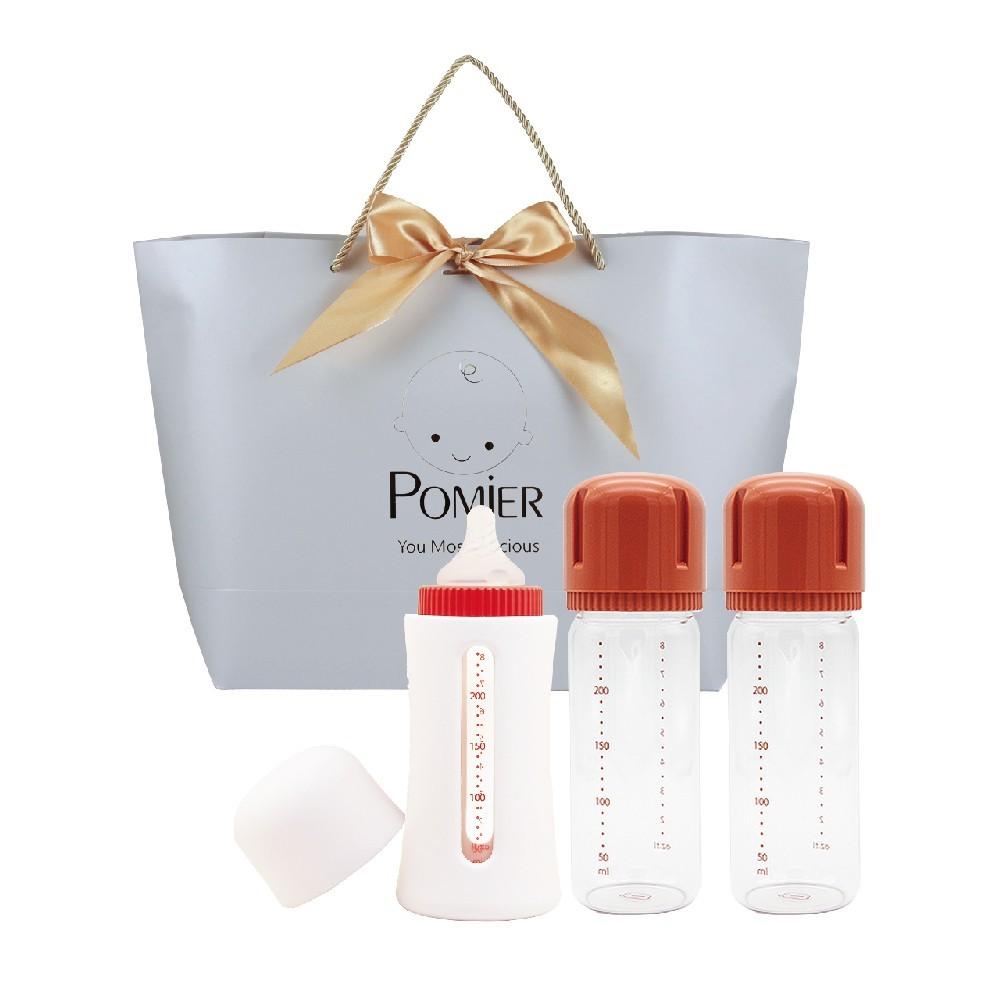 韓國johanson頂級溫暖安心玻璃奶瓶240ml送禮大禮包(彌月禮 新生禮 男寶 女寶 滿月禮 嬰
