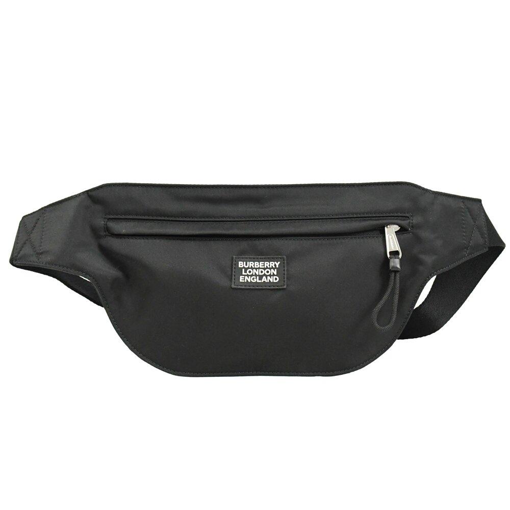 BURBERRY 專櫃商品 8028146 浮雕LOGO 尼龍肩斜胸口/腰包.黑