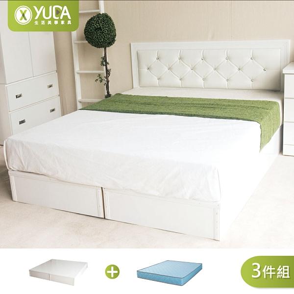 黛曼特純白色 房間組三件組(床頭片+加厚六分床底+獨立筒床墊) 雙人加大6尺 新竹以北免運【YUDA】