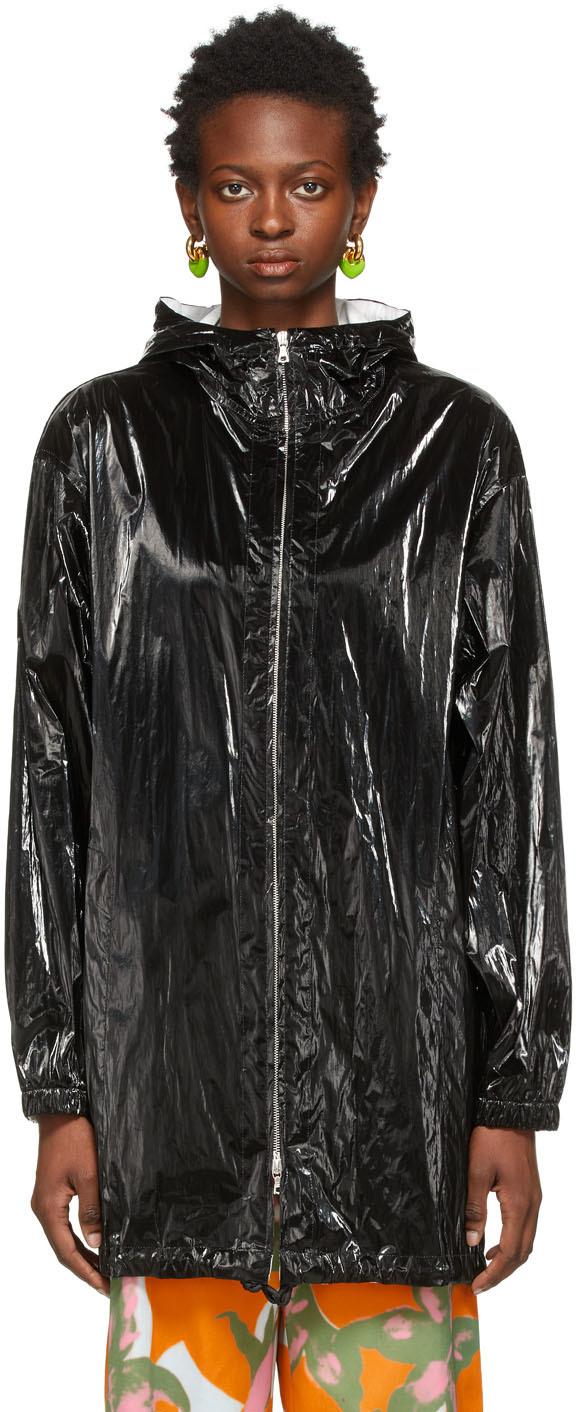 Dries Van Noten 黑色 Crinkled Tyvek 大衣