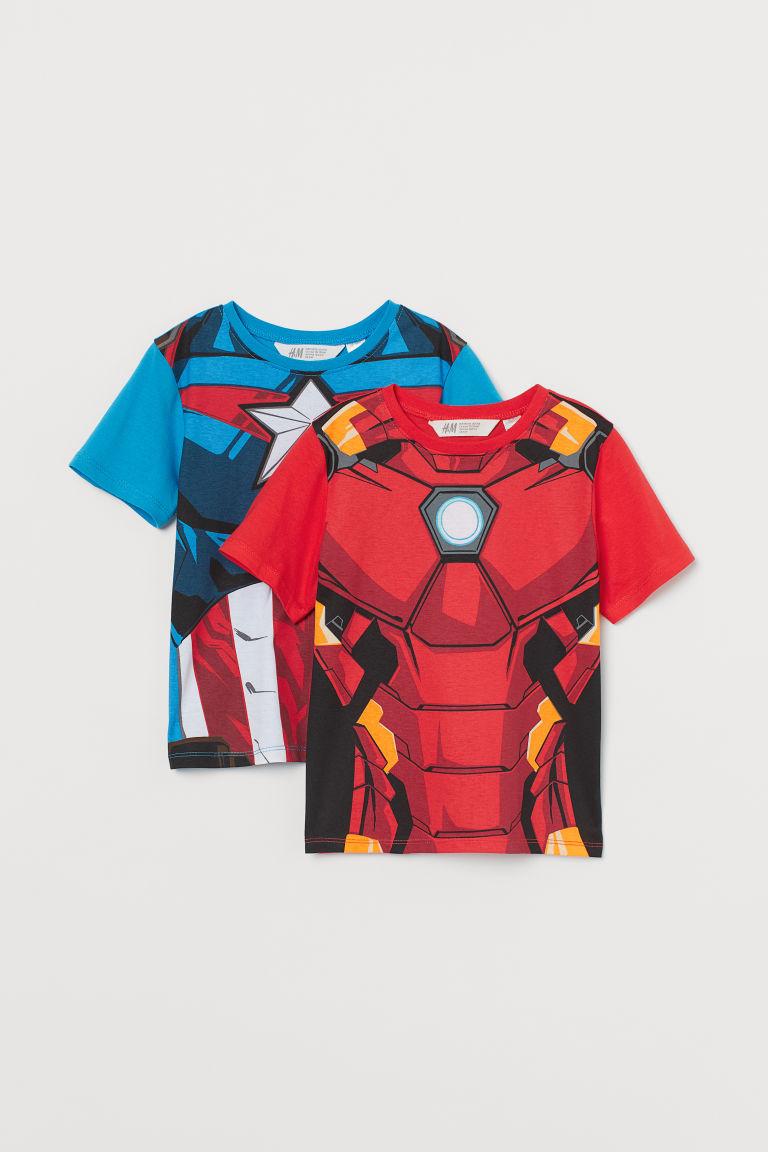 H & M - 2件入圖案T恤 - 紅色
